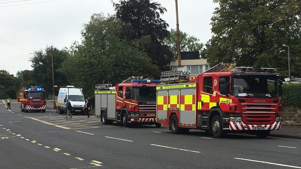 Fire engines outside Rosshall Academy