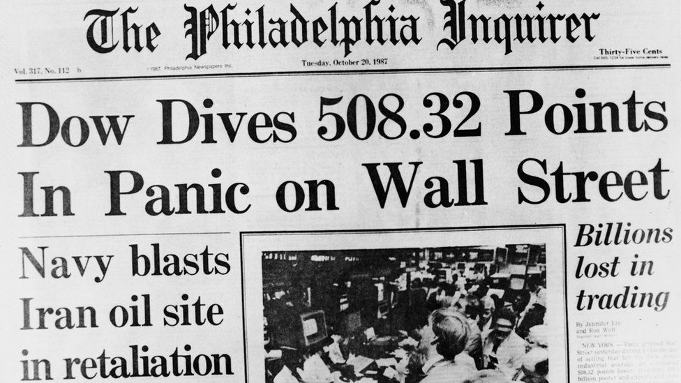 Front page of Philadelphia Inquirer reporting 1987 stock market crash