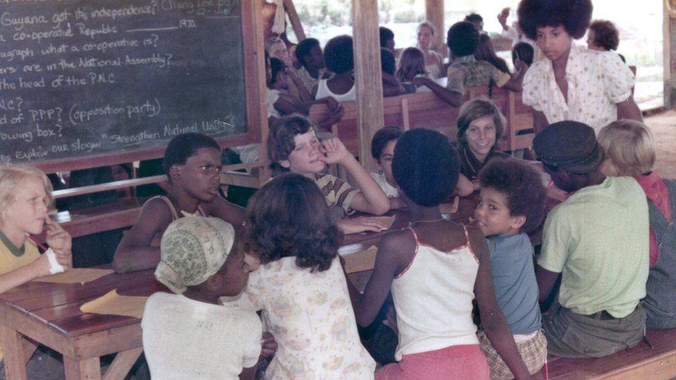 Children photographed in school