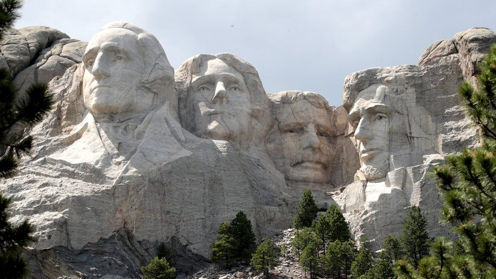 Image shows the Mount Rushmore National Monument in South Dakota