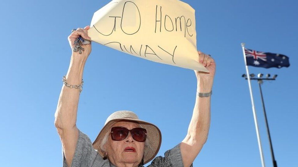 After Mr McGowan's news conference, a small group of protesters welcomed the Magnifica in Fremantle