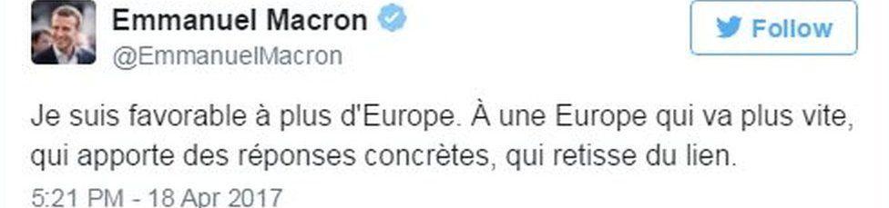 Tweet from Emmanuel Macron