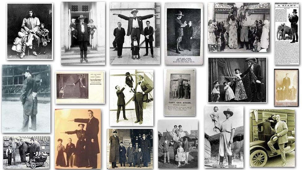 A collage of photos, kept by his family, show Auger in a variety of poses to accentuate his height
