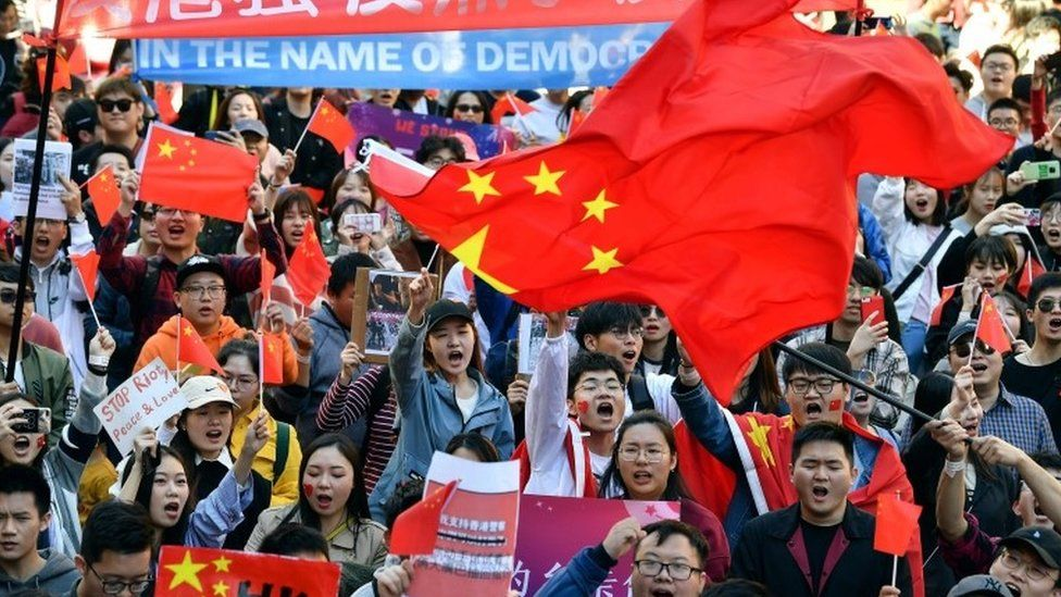Pro-China activists march on the streets of Sydney