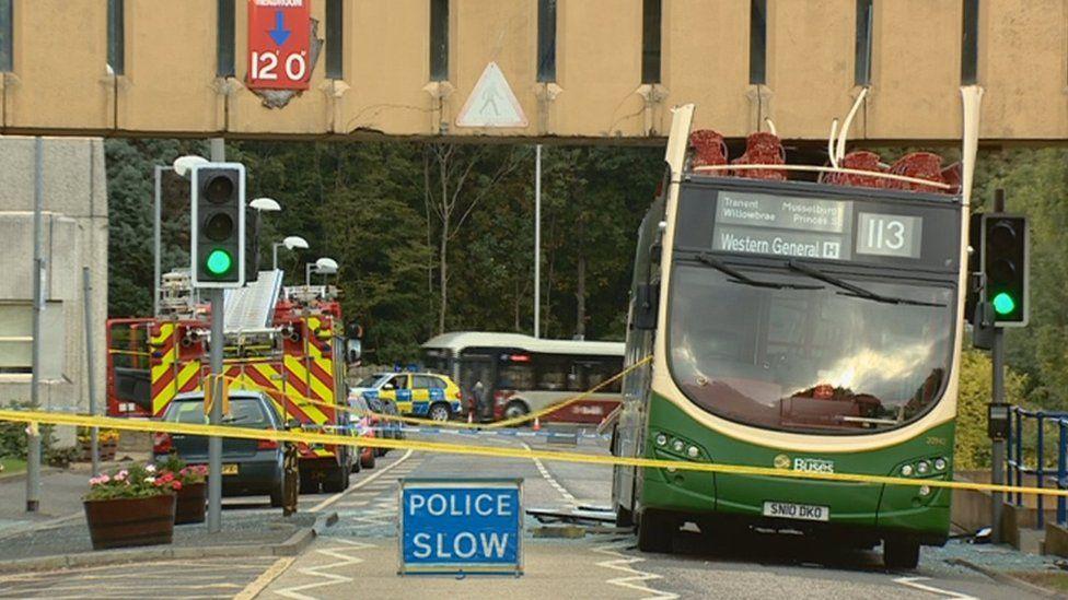 Crashed bus
