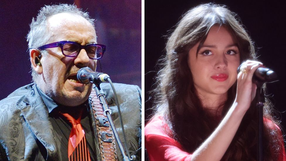 Composite image of Elvis Costello and Olivia Rodrigo