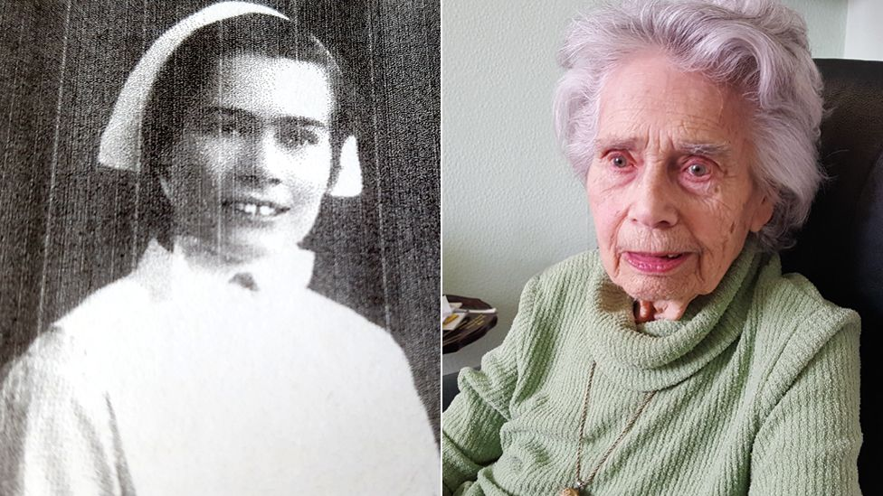 Nurse Sybil Moores in the 1930s and today