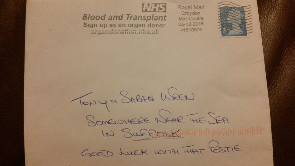 Letter addressed to 'somewhere near the sea in Suffolk'