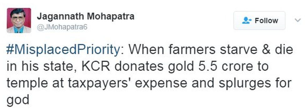 #MisplacedPriority: When farmers starve & die in his state, KCR donates gold 5.5 crore to temple at taxpayers' expense and splurges for god