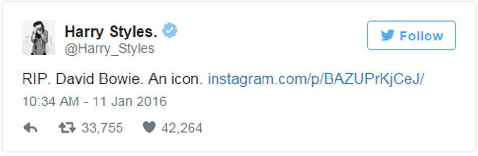 Harry Styles tweet: RIP. David Bowie. An icon.