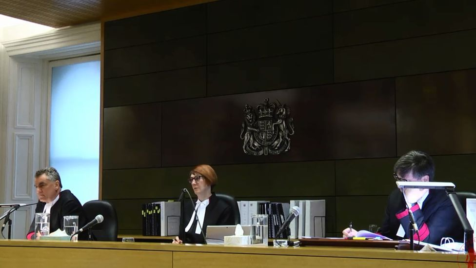 Screenshot of a live-stream broadcast of George Pell's appeal hearing featuring the three judges (l-r) Justice Chris Maxwell, Chief Justice Anne Ferguson and Justice Mark Weinberg