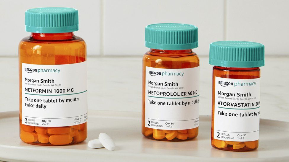 Medicine bottles with Amazon branding