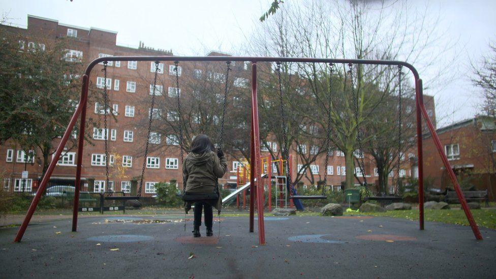 Woman on swings