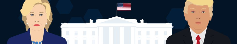Graphic showing Hillary Clinton and Donald Trump with the White House in the background