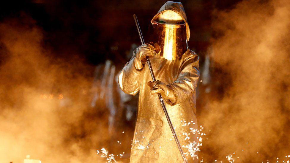 German steelworker at ThyssenKrupp works in Duisburg