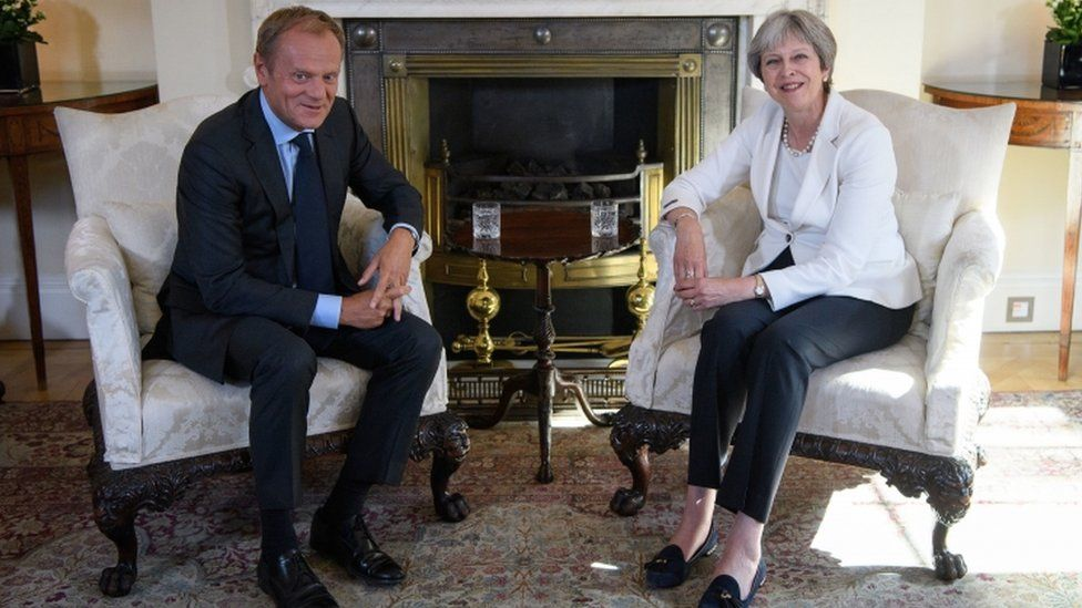 Theresa May, pictured here with Donald Tusk former president of the European Council