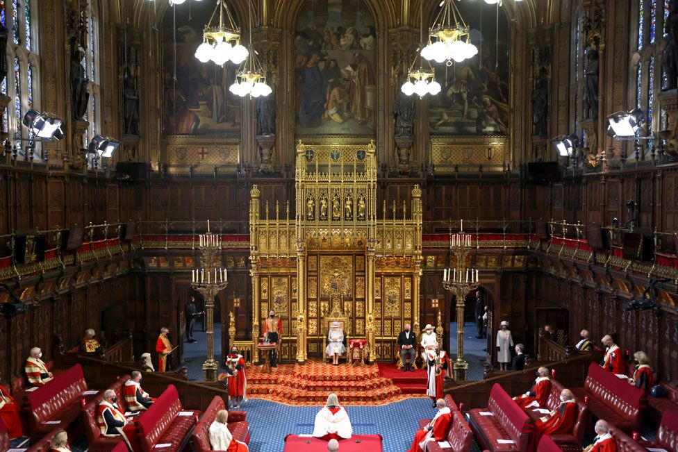 A general view as Queen Elizabeth II delivering the Queen's Speech in the House of Lord's Chamber