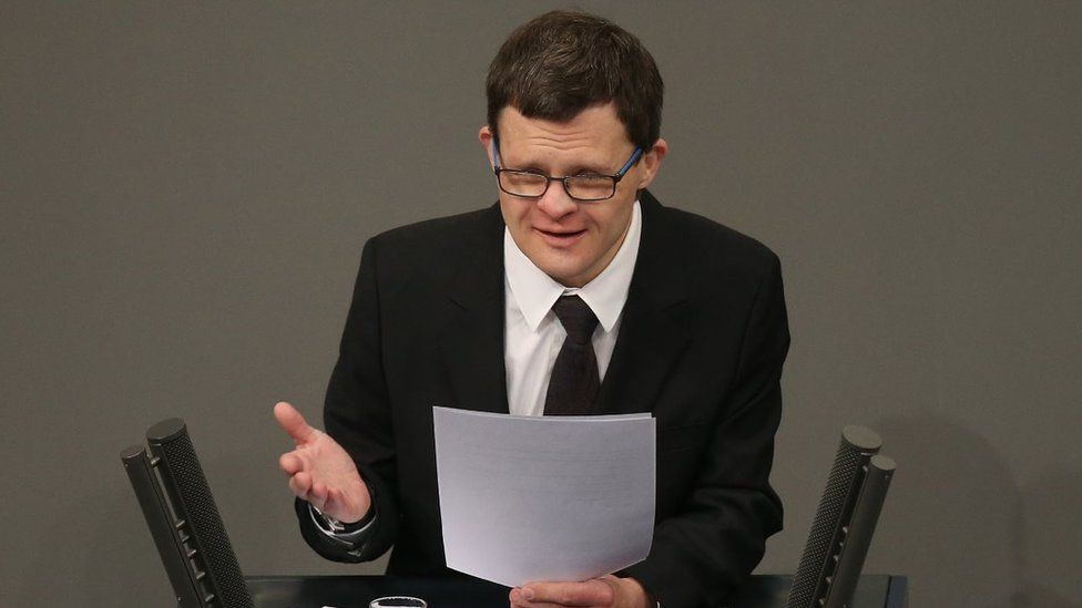 Actor Sebastian Urbanski, who suffers from Down Syndrome, reads a letter by Ernst Putzki