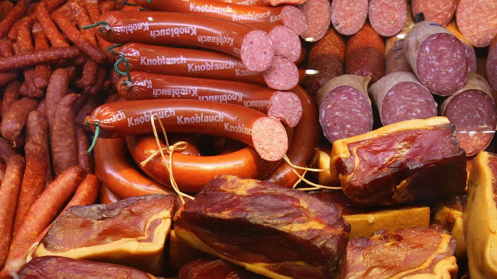 German sausages on display at an agricultural fair in Berlin