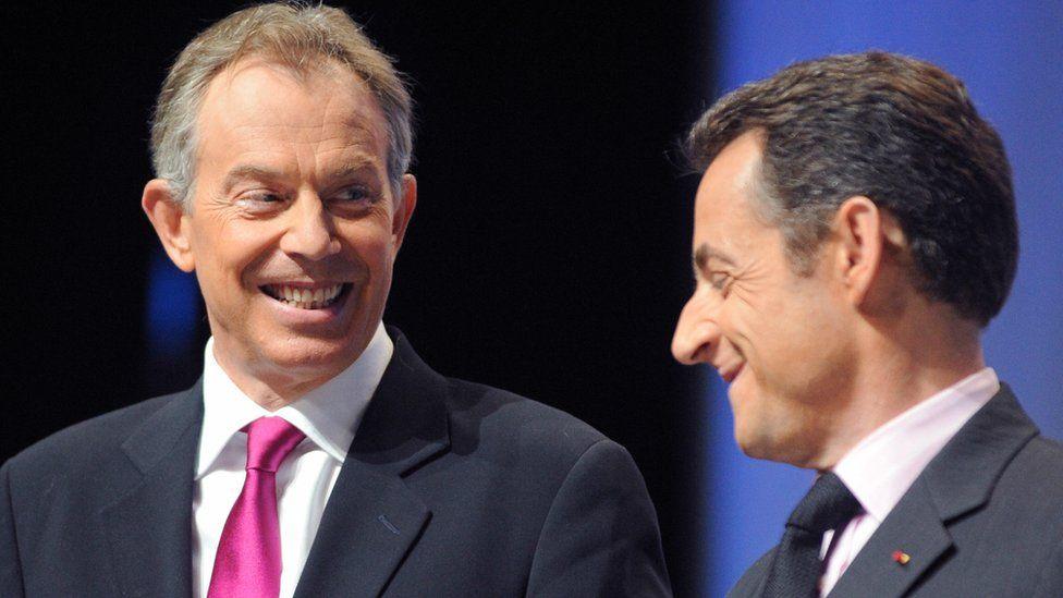Tony Blair with Nicolas Sarkozy, Jan 2008