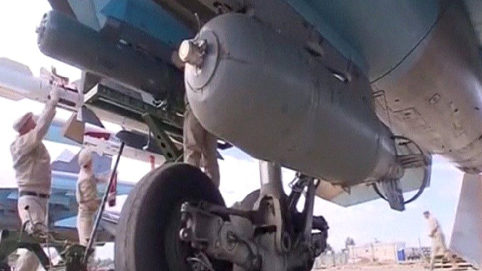 Frame grab of footage showing a Russian SU-34 fighter bomber at Hmeymim airbase in Syria on 30 November 2015