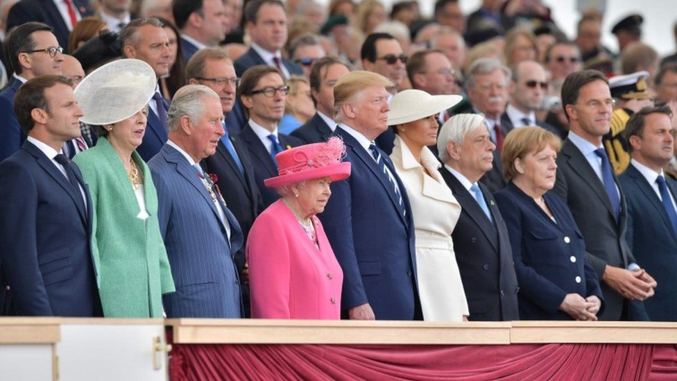 Prime Minister Theresa May, the Prince of Wales, the Queen and US President Donald Trump were among those at the event in Portsmouth
