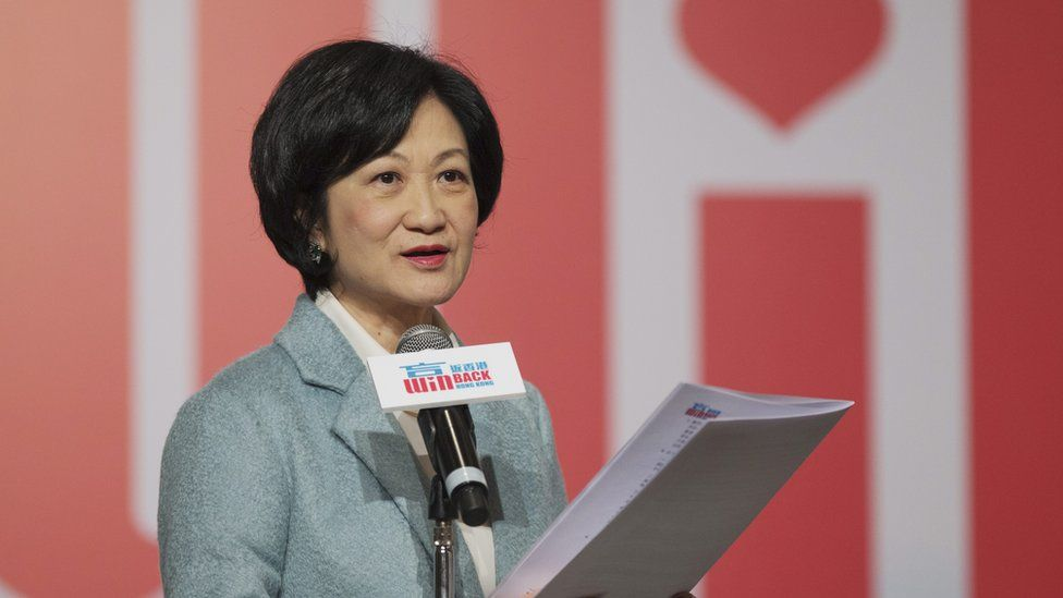 Regina Ip speaks during a press conference in Hong Kong, China, on 15 December 2016