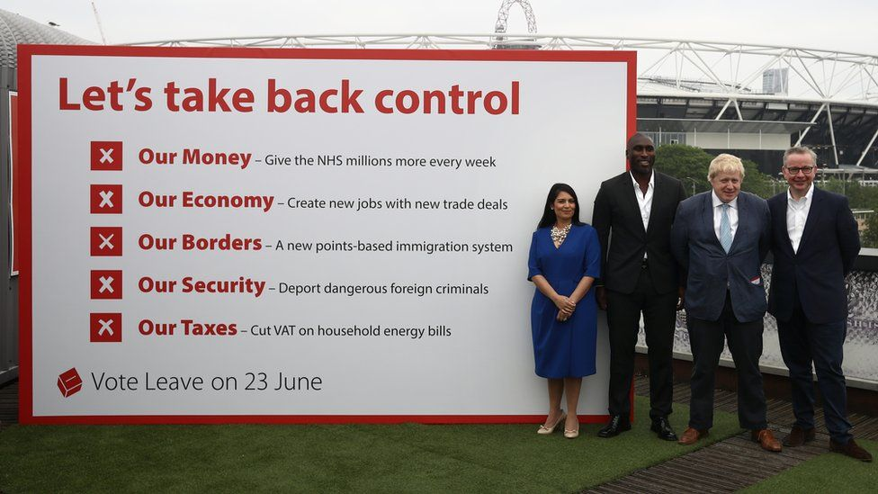 Priti Patel, Boris Johnson, Michael Gove and footballer Sol Campbell with a Vote Leave poster in 2016