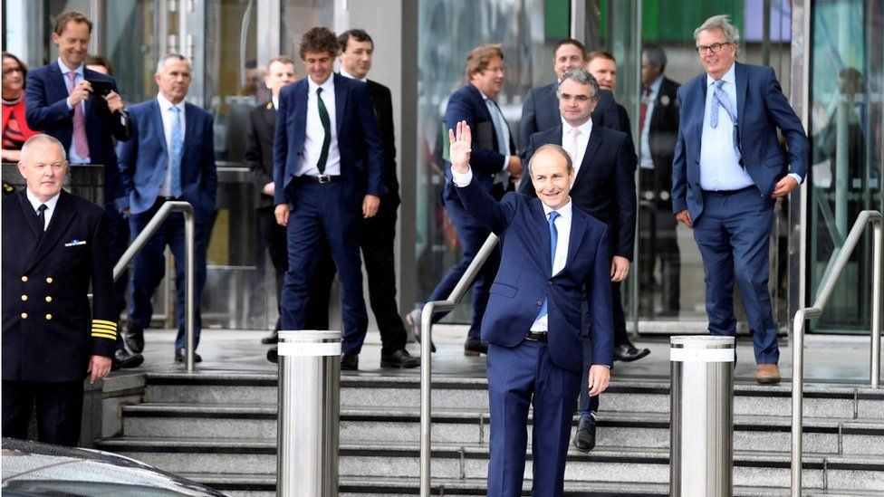 Micheál Martin pictured leaving Dublin's Convention Centre after being elected