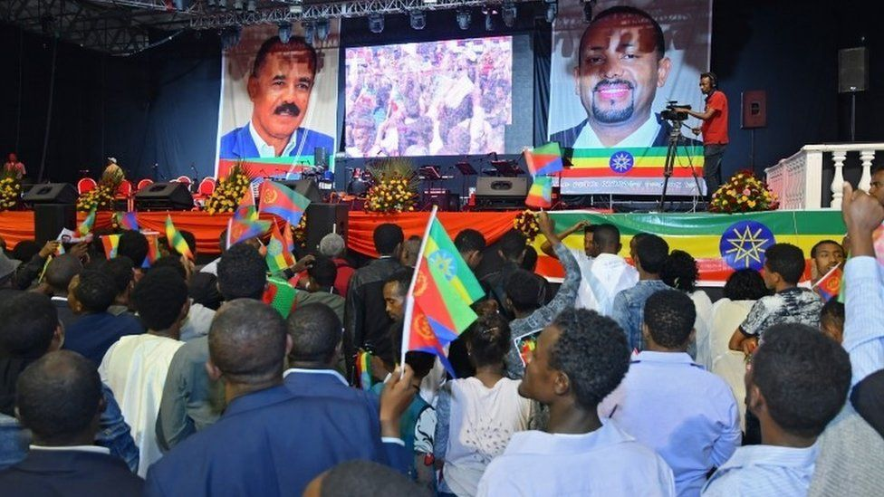 People attend an event for Eritrea's President Isaias Afwerki at Millennium Hall in Addis Ababa, Ethiopia, 15 July 2018.
