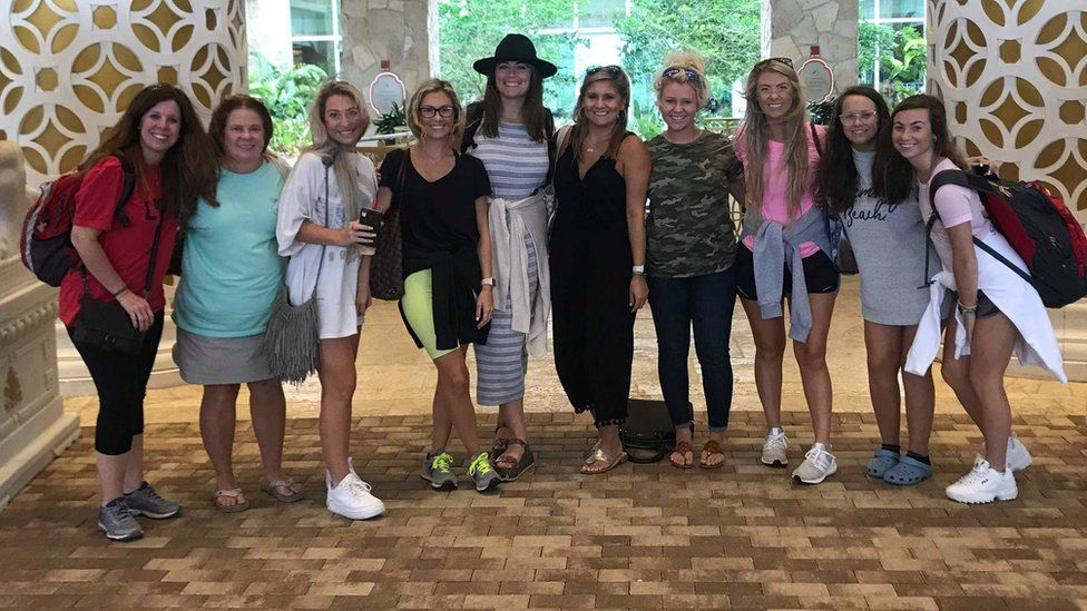 The bride to be (in the black top and yellow shorts) Rikki Kahley surrounded by her bachelorette party