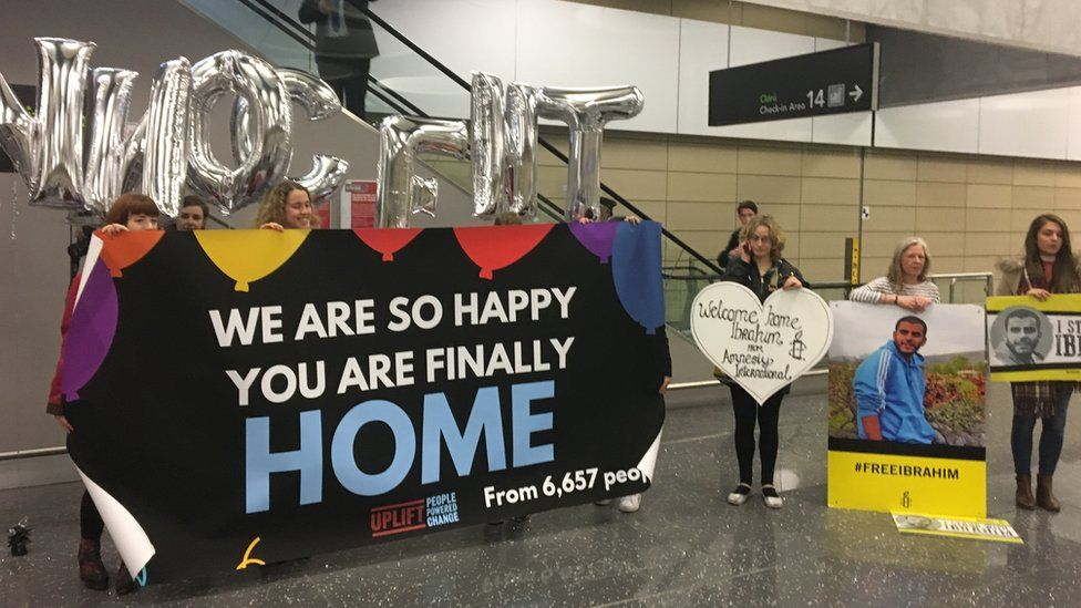 People waiting at Dublin Airport to welcome Ibrahim Halawa home