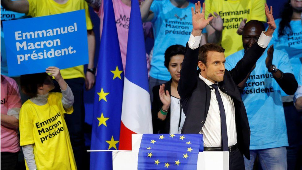 Emmanuel Macron, head of the political movement En Marche!, or Onwards!, and candidate for the 2017 presidential election attends a campaign political rally in Saint-Herblain near Nantes, France, April 19, 2017.