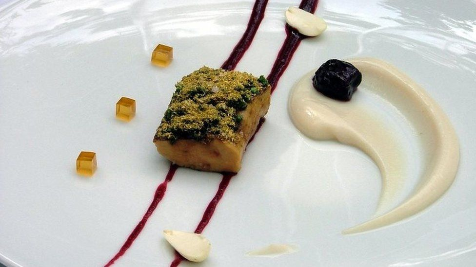 Foie gras being served at the Fat Duck restaurant