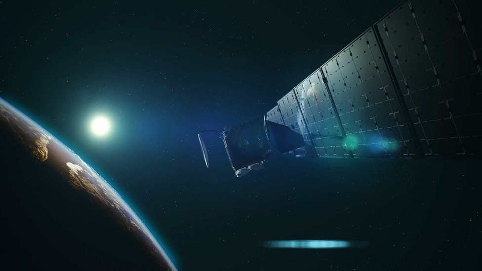 An artists' impression of a small satellite in low-Earth orbit