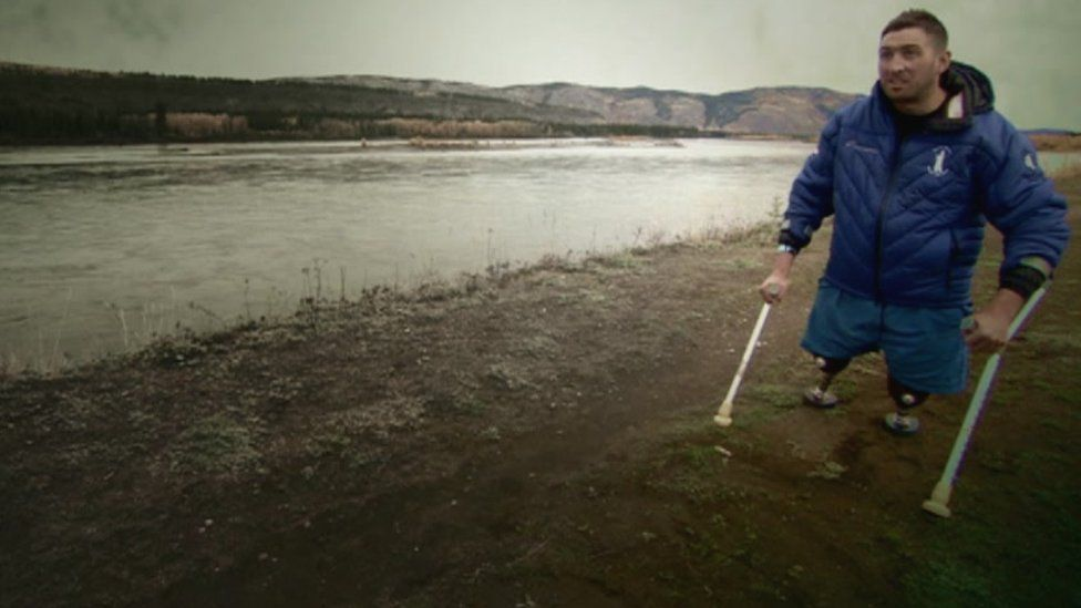 Ben Parkinson at the Yukon River in Canada