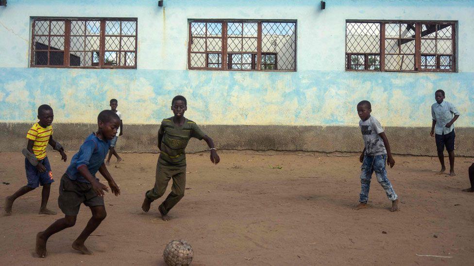 Boys playing football - Monday 15 April 2019