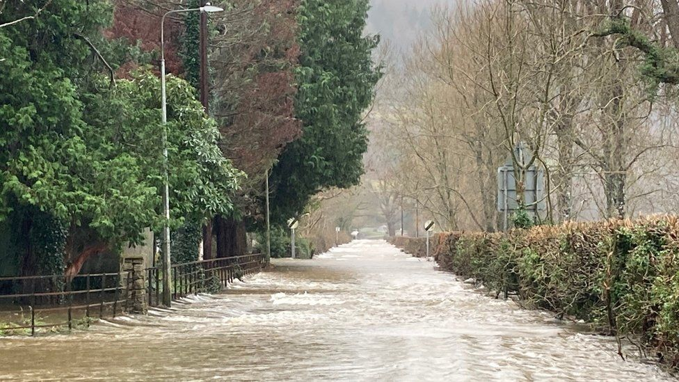 Flooded road at Llanrwst in January 2021