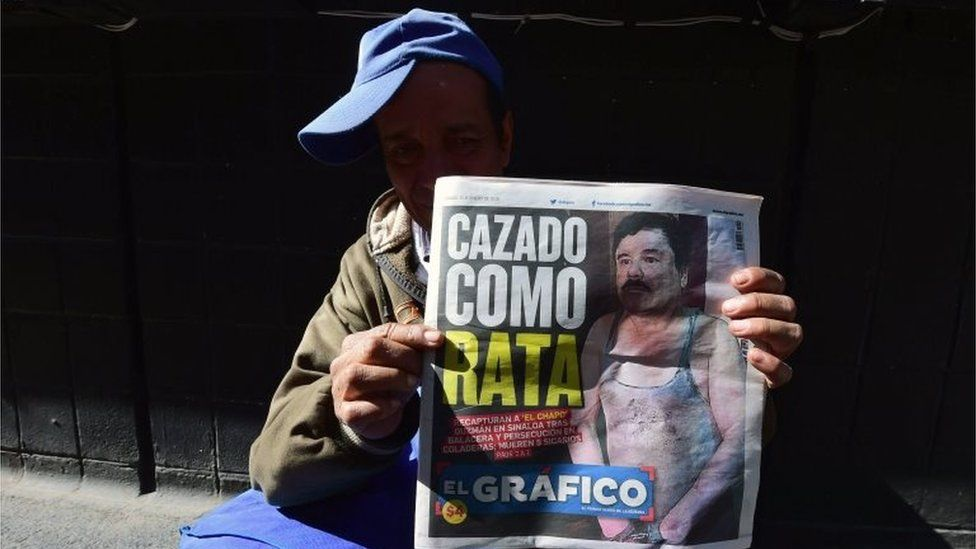 "A street vendor shows a newspaper in Mexico City with a picture of drug kingpin Joaquin ""El Chapo"" Guzman on its front page on 9 January , 2016 a day after he was recaptured during a military operation in Los Mochis, Sinaloa State"