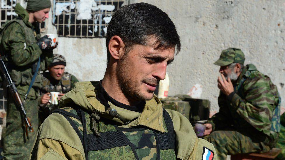 File pic of Givi, separatist commander outside Donetsk on October 9, 2014
