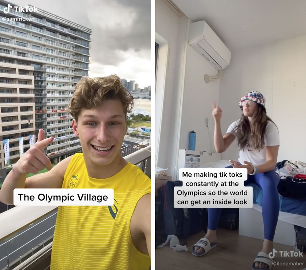 """Composite image shows Sam Fricker in his video. Right pictures shows Ilona Maher holding her phone and the caption """"Me making TikToks constantly at the Games so the world can get an inside look"""""""