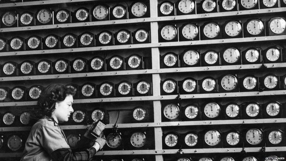 A black and white picture of lots of clocks in the 1940s