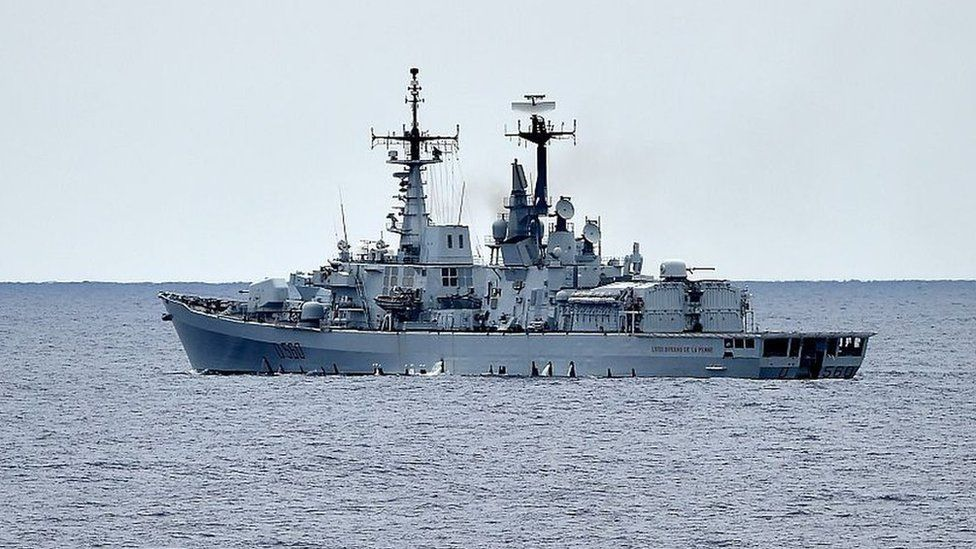 The Italian navy destroyer Luigi Durand De La Penne in the Mediterranean Sea on 1 October 2015
