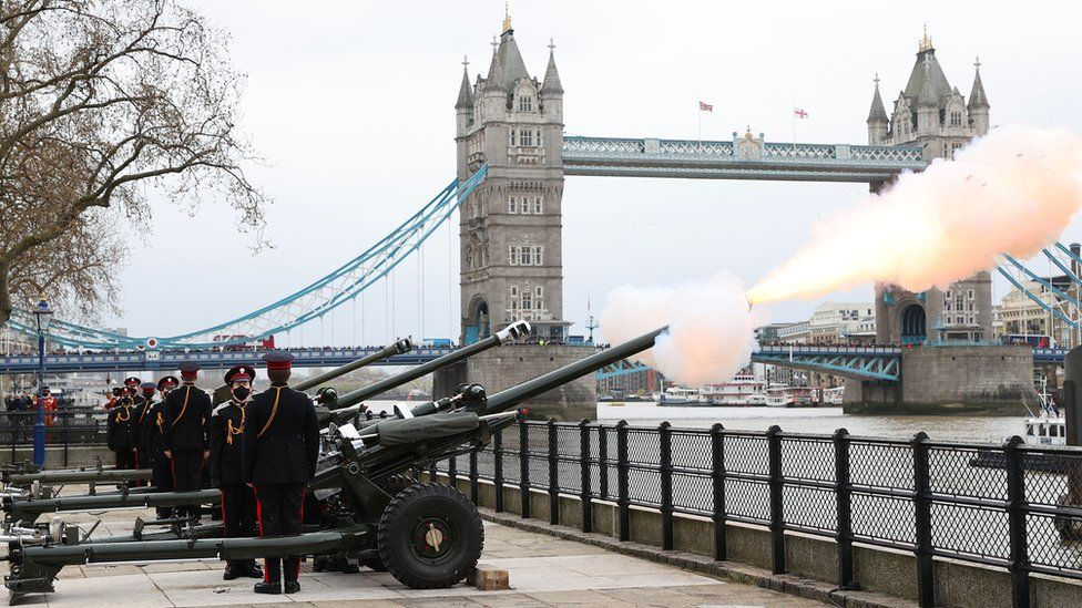 The Honourable Artillery Company fire a gun salute at The Tower of London on April 10, 2021 in London