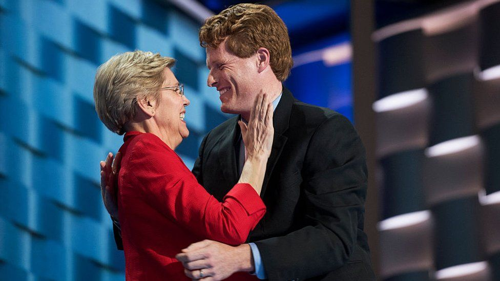Joe Kennedy and Senator Elizabeth Warren at the Democratic National Convention in 2016