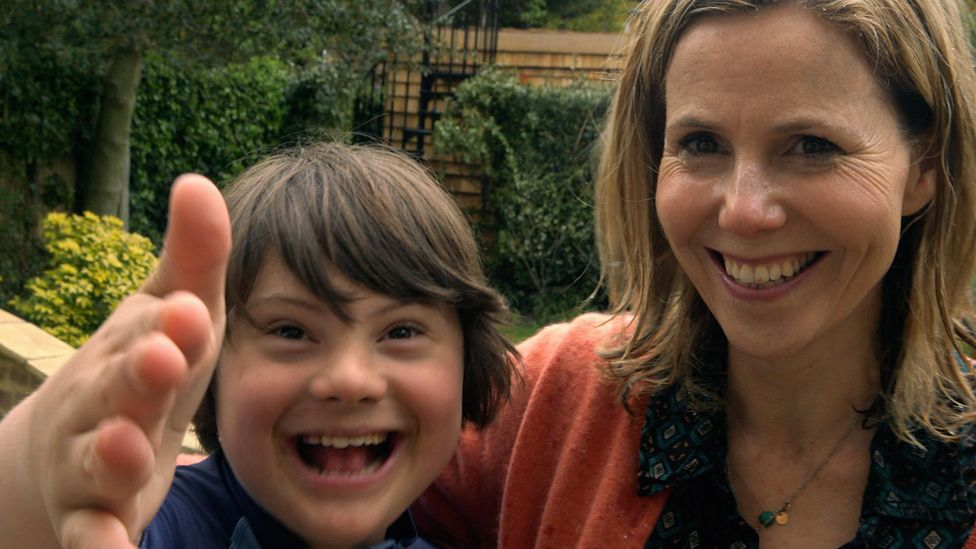 Sally Phillips and her son Olly