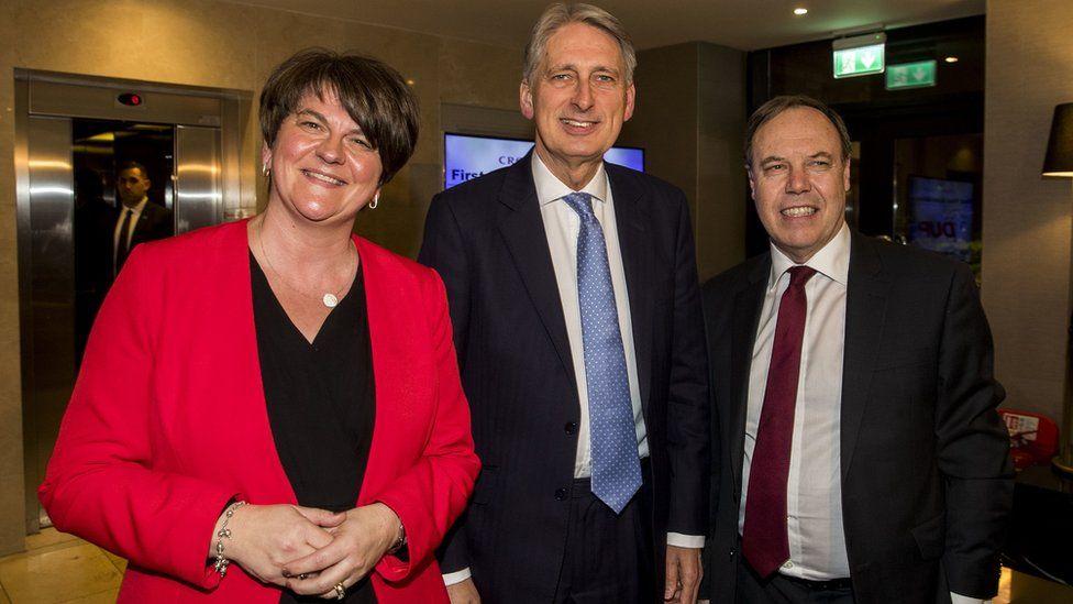 Arlene Foster, Philip Hammond and Nigel Dodds