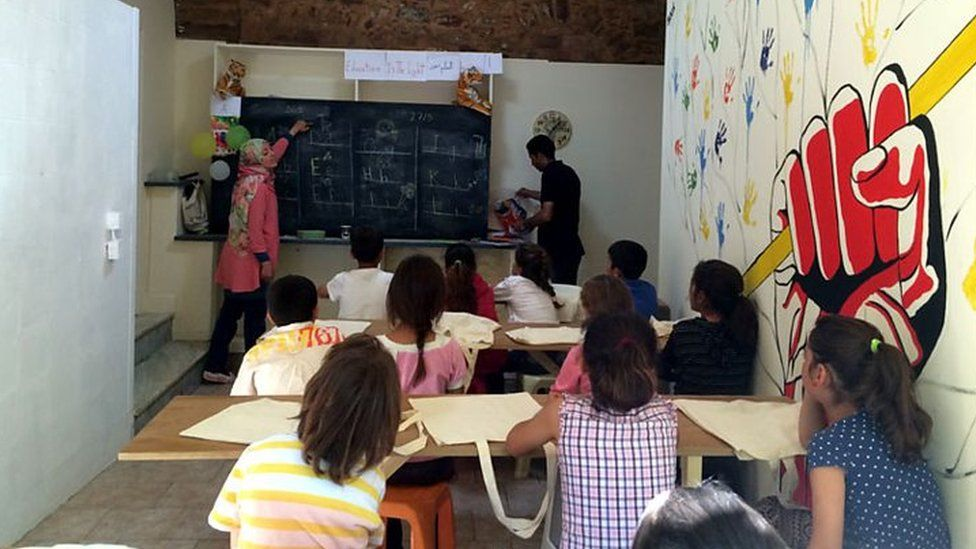The new children's education centre with Syrian refugee teachers