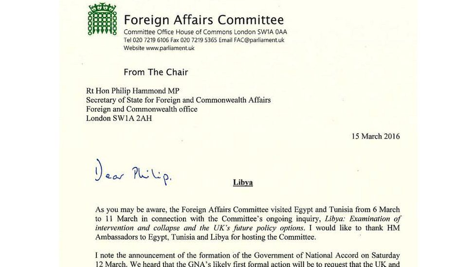 Extract from Foreign Affairs Committee letter