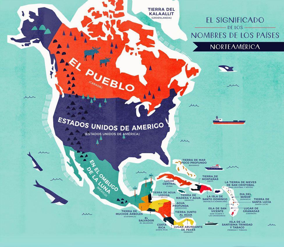 Mapa Norteamérica con nombres traducidos